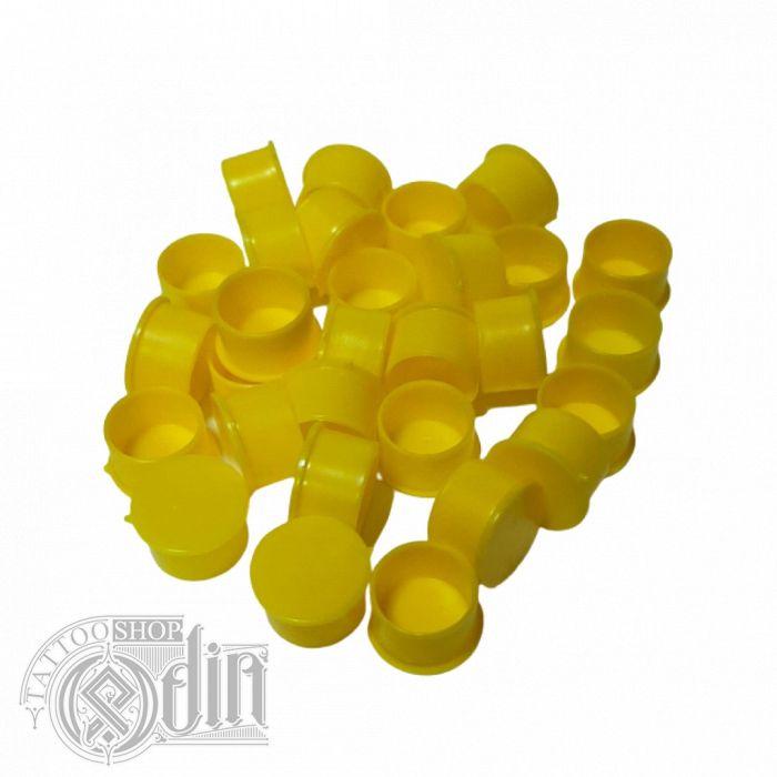 Колпачки под краску (c подставкой) - Желтые (14 мм)